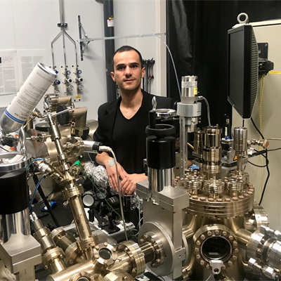 Pavel Juarez-Lopez working with the Transverse Energy Spread Spectrometer (TESS) in the VISTA Laboratory.