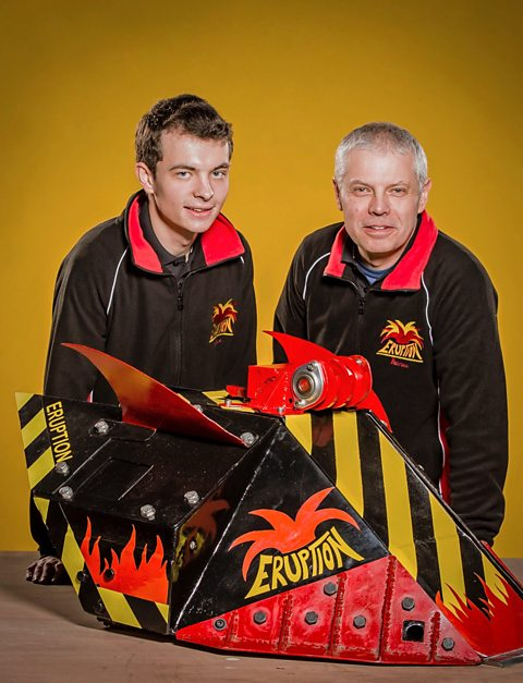 Adrian Oates (Right) of Daresbury Laboratory with son Michael and Eruption their Robot Wars Episode Winning Robot
